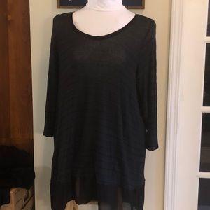Green/black striped tunic sweater, LS semi-sheer